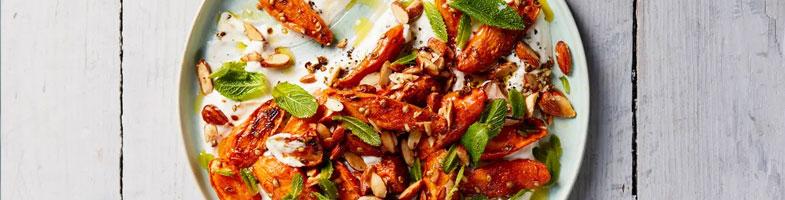 Zanahorias al coriandro con yogur, tahina y menta